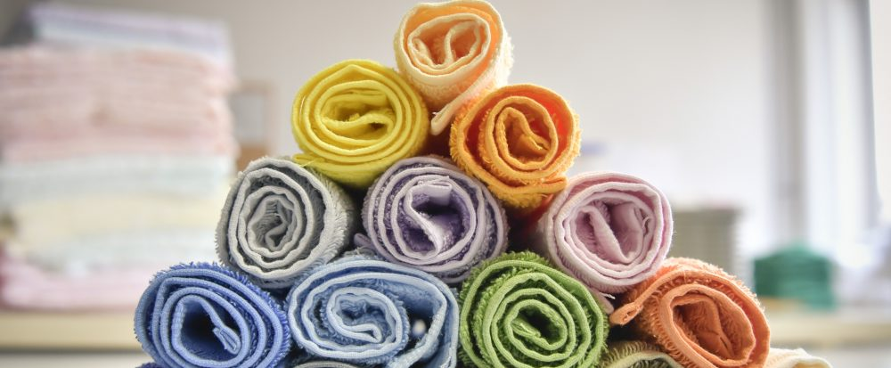 Handtuch bunte Rollen Dreieck Vielfalt Herka-Frottier cotton terry towel colorful