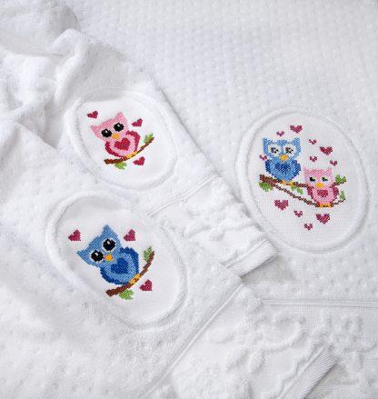 Amara Stick Eule Handtuch Geschenk Herka-Frottier Romantik Bad terry towel embroidery owl