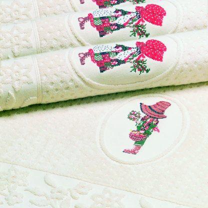 Handtuch Amara mit Stick Gärtnerjunge Herka-Frottier Romantik Bad terry towel