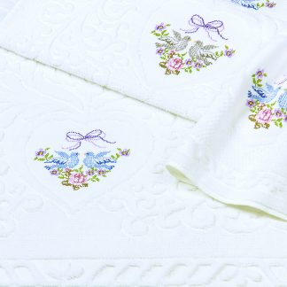 Handtuch Turteltaube Herka-Frottier Romantik Bad Baumwolle terry towel embroidery doves cotton