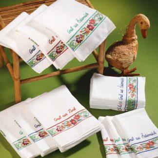 Handtuch Almenrausch Gruß aus Österreich Herka-Frottier Baumwolle Souvenir Geschenke cotton terry towel gifts Made in Austria