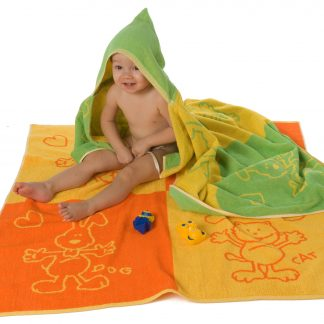 Hantuch Badetuch Badecape Kinder kids Cats and dogs Herka-Frottier Baumwolle cotton terry towel textile made in Austria