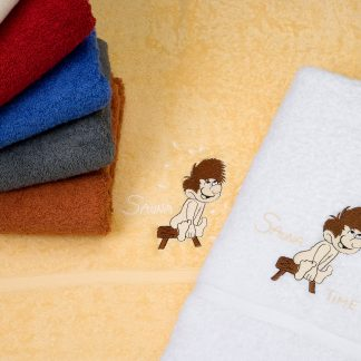 Handtuch Birke mit Saunamännchen Stick HERKA-Frottier Wellness Frottee Baumwolle cotton terry towel with embroidery man Made in Austria