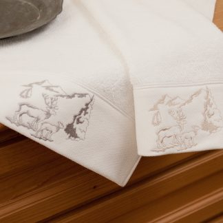Handtuch Landliebe Alpenidylle Geschenke Souvenit HERKA-Frottier Baumwolle cotton terry towel gift guest embroidery stick frottee Made in Austria