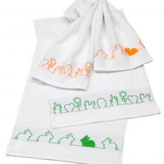 Handtuch Little Rabbit Ostern Herka-Frottier Baumwolle Gaestetuch cotton terry easter towel made in Austria