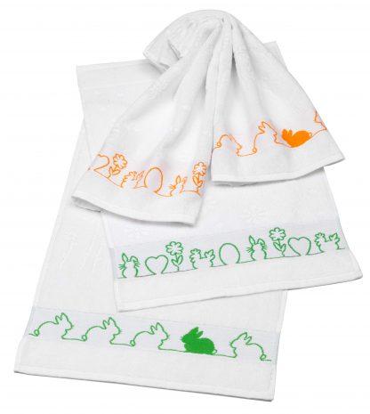 Handtuch Little Rabbit Ostern Herka-Frottier Baumwolle Gaestetuch cotton terry easter towel made in Austria