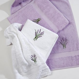 Handtuch Venice Lavendel Fisch Stick Herka-Frottier Klassik Bad Geschenk Gaeste terry towel embroidery cotton Baumwolle