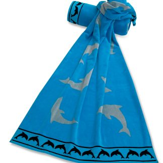 Handtuch Winnie Strand Delfin Borduere Einwebung Herka-Frottier Bad beach terry towel border inweaving dolphins cotton baumwolle