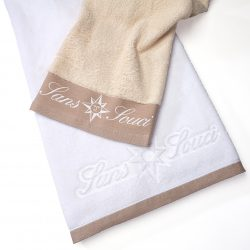 Handtuch Promotion Bordüre Herka Frottier terry towel inweaving border cotton Baumwolle Sans Souci Hotel
