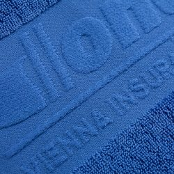 Handtuch Promotion Bordüre Herka Frottier terry towel inweaving border cotton Baumwolle Donau Versicherung Detail