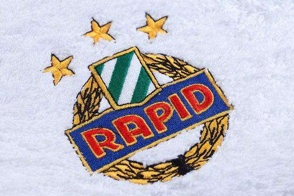 Handtuch Herka-Frottier b2b Einstickung Rapid Fussball football Baumwoll Promotowel Werbung terry towel embroidery cotton