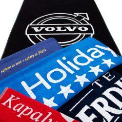 Handtuch Promotion Werbung Herka-Frottier Sonderanfertigung b2b Jacquard Einwebung Baumwolle promo terry towel cotton inweaving made in Austria Gruppe Volvo Holiday