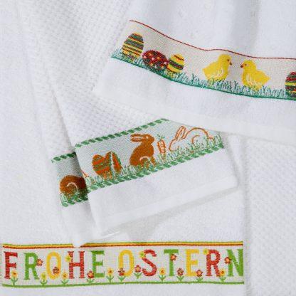 Handtuch Ostern Eier Kueken Hase Herka-Frottier Baumwolle cotton terry towel easter Made in Austria