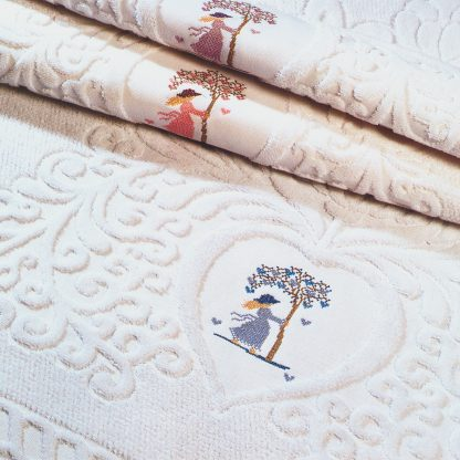 Handtuch Coeur Stick Herzerlbaum Herka-Frottier Romantik Bad Baumwolle terry towel cotton embroidery heart tree