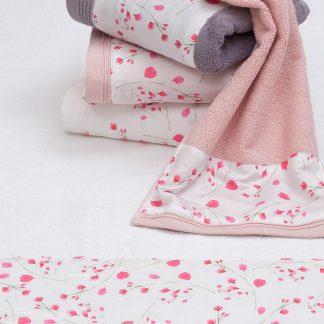 Handtuch Debut Bad Stoffbirdüre Blumen HERKA-Frottier Baumwolle Frottee cotton terry towel bath Made in Austria Frottee sustainable nachhaltig