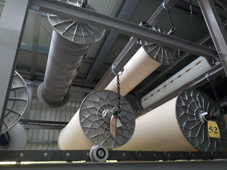 Handtuchweberei HERKA-Frottier Paternoster Kettbaumlager terry towel weaving mill warp beam storage Made in Austria